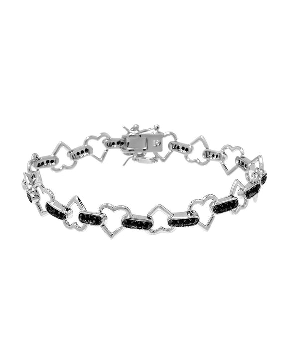Made In Italy Round Black Cubic Zirconia Sterling Silver Heart Ladies Bracelet
