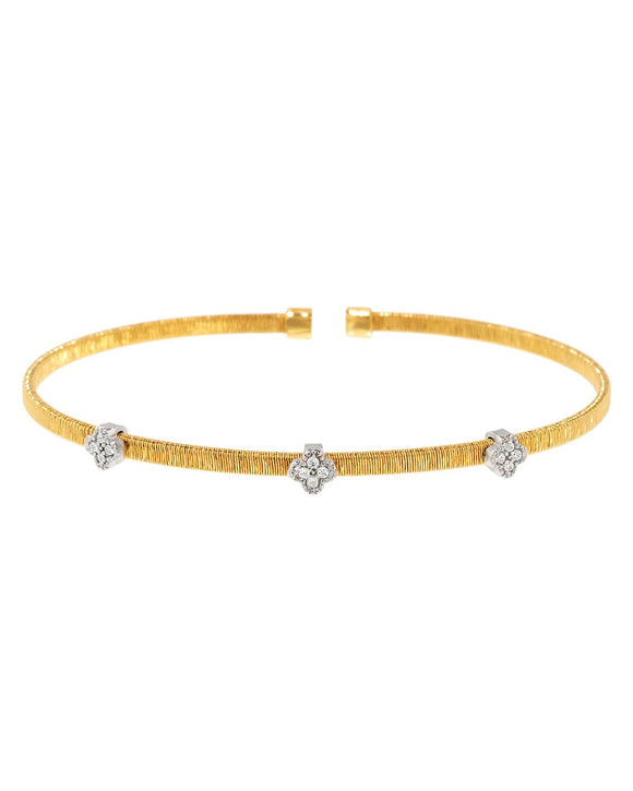 Made In Italy Round White Cubic Zirconia Gold Plated Silver Cuff Ladies Bracelet