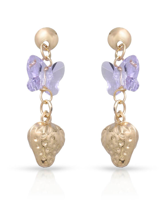 GOLDEN ARC JEWELRY Made In Italy Beaded Purple Crystal Gold Dangle Girl Earrings