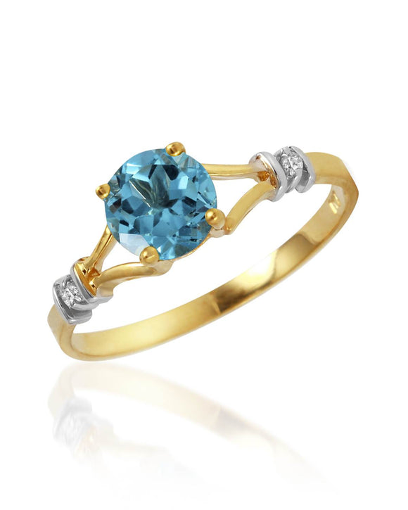 MAGNOLIA 1.03 CTW SI2 Round Sky Blue Topaz 14K Gold Ladies Ring Size 8