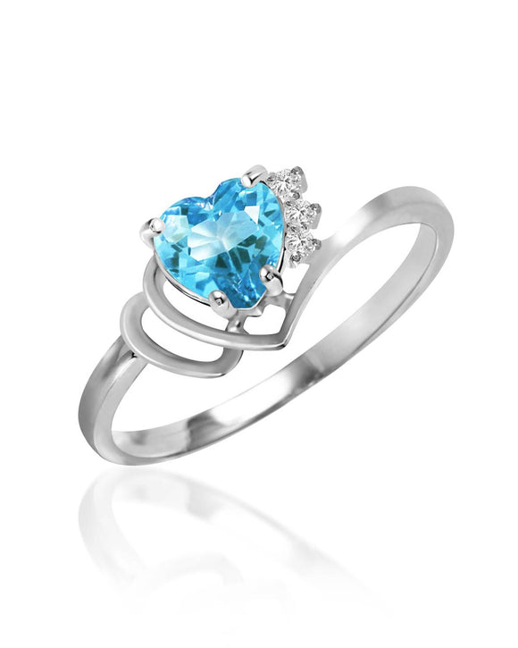 MAGNOLIA 0.99 CTW SI2 Heart Sky Blue Topaz 14K Gold Heart Ladies Ring Size 8
