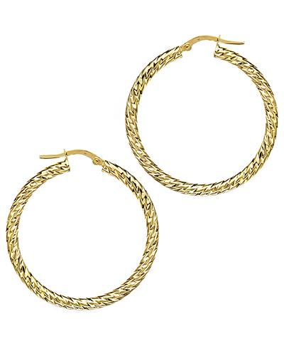 14K Gold Hoop Ladies Earrings Weight 2.7g. Length 38 mm