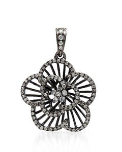 2.70 CTW Round White Cubic Zirconia Sterling Silver Ladies Pendant Length 26 mm