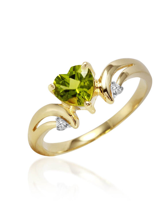 MAGNOLIA 1.27 CTW SI2 Heart Green Peridot 14K Gold Heart Ladies Ring Size 8
