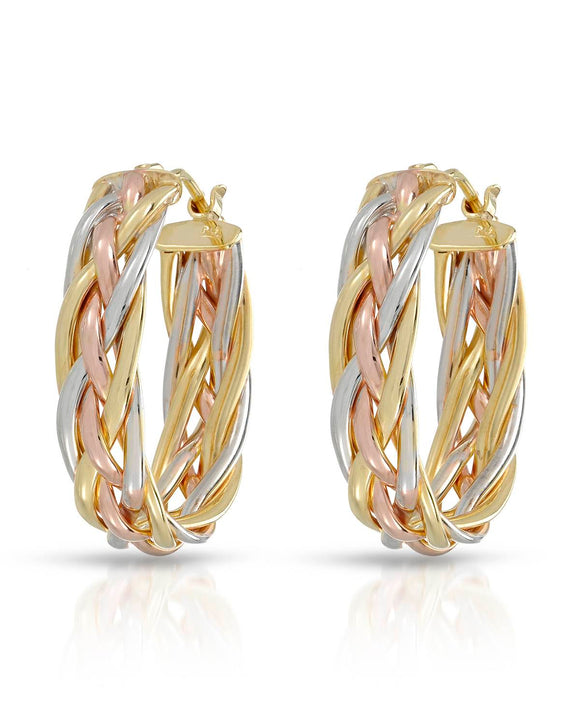 MILLANA Made In Italy 14K Gold Hoop Ladies Earrings Weight 3.5g. Length 25 mm