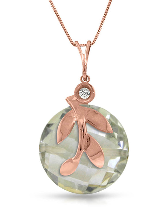 MAGNOLIA 5.32 CTW SI1-SI2 Checkerboard Green Amethyst 14K Gold Ladies Necklace