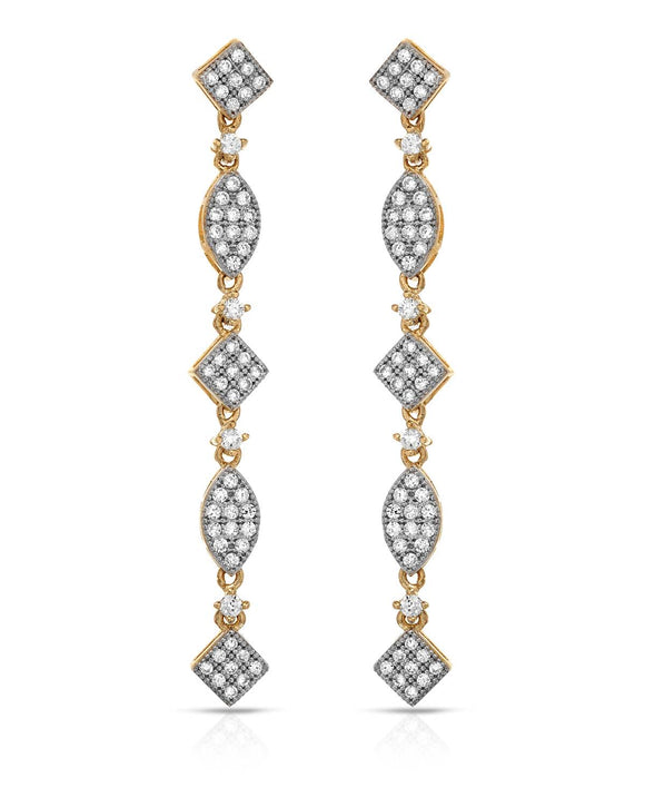 MILLANA Made In Italy Round White Cubic Zirconia 14K Gold Dangle Ladies Earrings