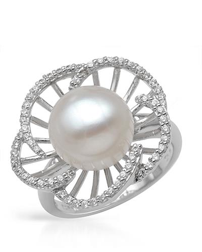 MILLANA Made In Italy Freshwater Pearl Sterling Silver Ladies Ring Size 6