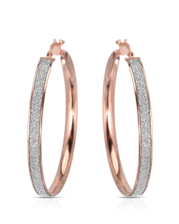 MILLANA Made In Italy Gold Plated Silver Hoop Ladies Earrings Length 40 mm