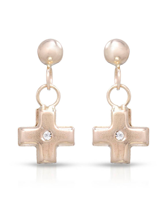 GOLDEN ARC JEWELRY Made In Italy Round White Crystal Gold Cross Girl Earrings