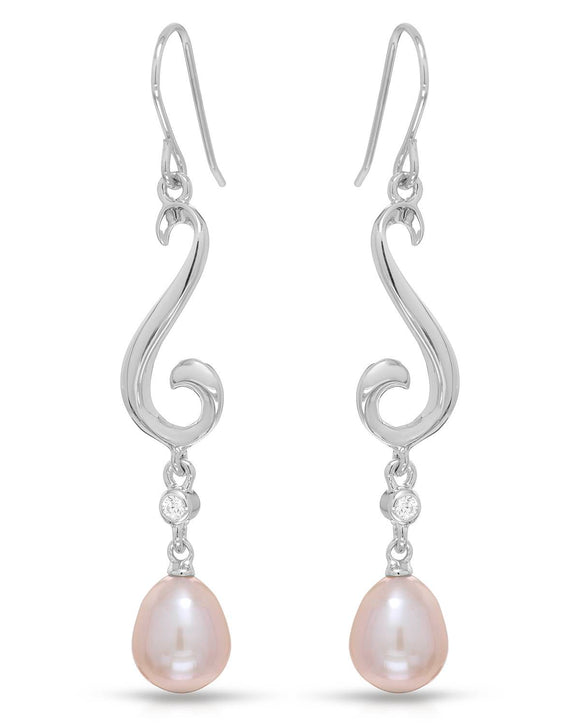MILLANA Made In Italy Freshwater Pearl Sterling Silver Dangle Ladies Earrings