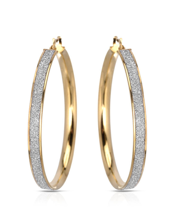 MILLANA Made In Italy Gold Plated Silver Hoop Ladies Earrings Length 39 mm