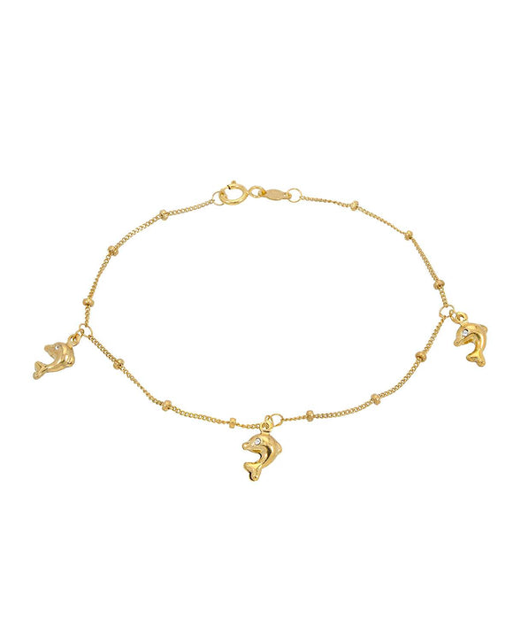 GOLDEN ARC JEWELRY Made In Italy Round White Crystal 14K Gold Ladies Bracelet
