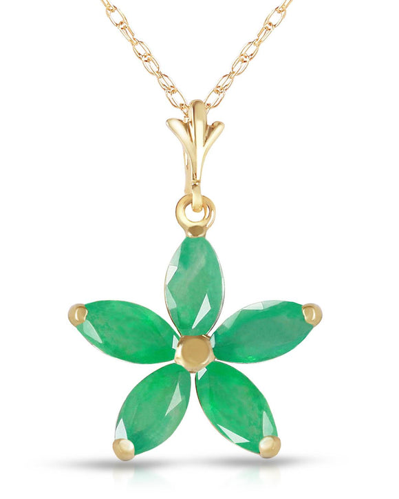 MAGNOLIA 1.40 CTW Marquise Green Emerald 14K Gold Ladies Necklace Length 18 in
