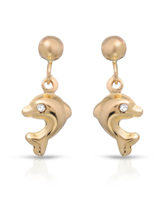 GOLDEN ARC JEWELRY Made In Italy Round White Crystal Gold Drop Girl Earrings