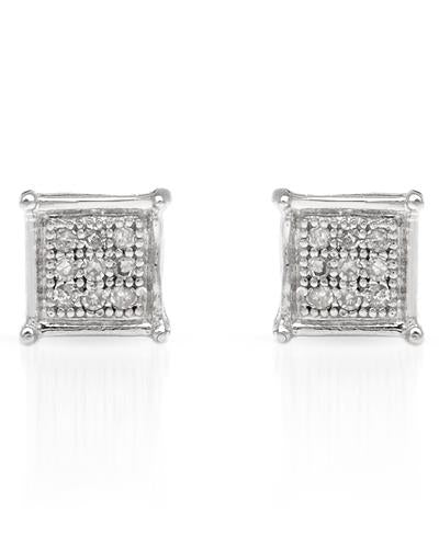 LUNDSTROM 0.07 CTW G-H I1-I2 Round Diamonds Gold Stud Ladies Earrings