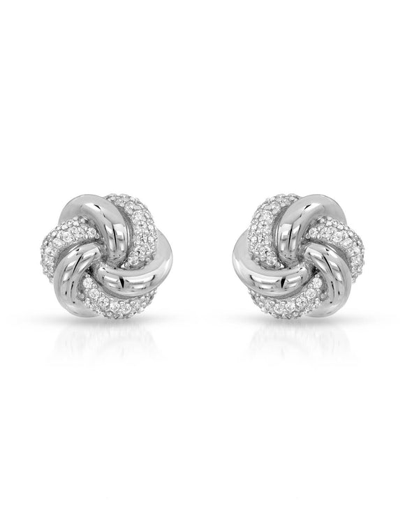 Round White Cubic Zirconia Sterling Silver Stud Ladies Earrings Length 12 mm