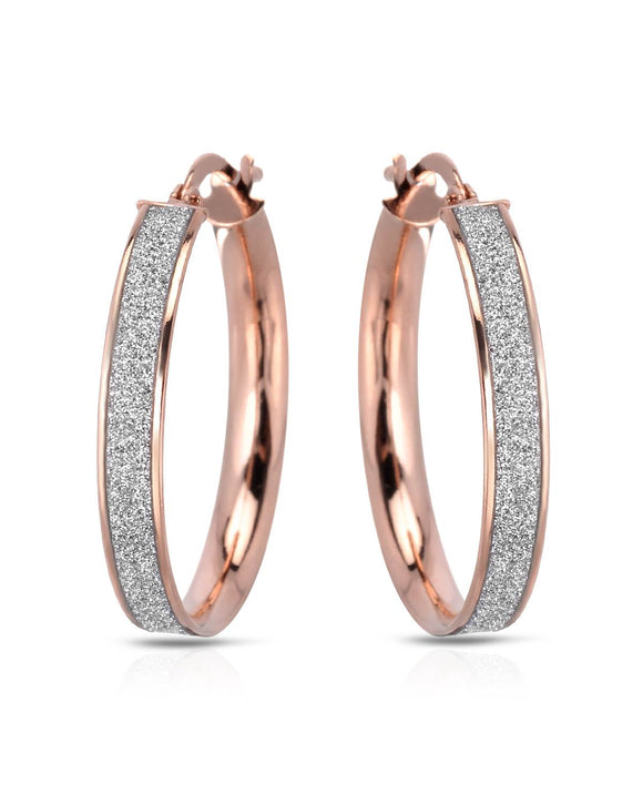 MILLANA Made In Italy Gold Plated Silver Hoop Ladies Earrings Length 26 mm