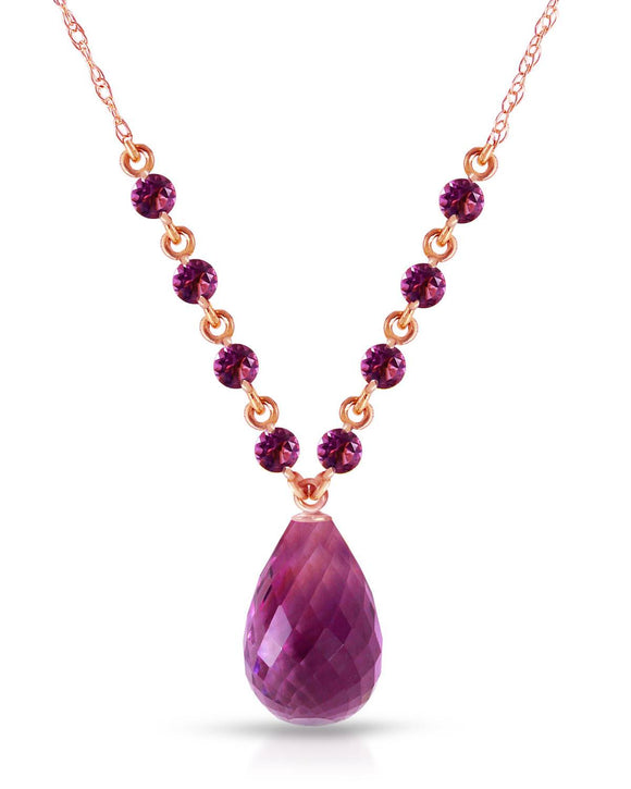MAGNOLIA 11.50 CTW Multi-Shaped Purple Amethyst 14K Gold Ladies Necklace
