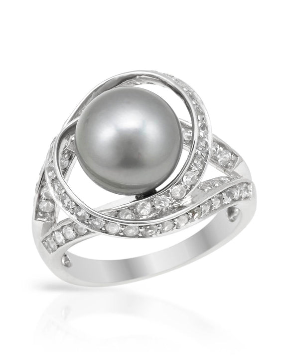 Made In Usa Grey Freshwater Pearl Sterling Silver Cocktail Ladies Ring Size 9