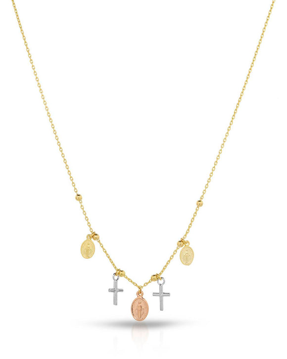 MILLANA Made In Italy 14K Gold Cross Ladies Necklace Weight 3.1g. Length 16 in