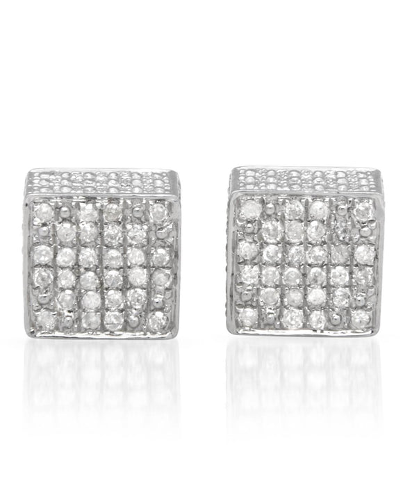 LUNDSTROM 0.37 CTW H-I I2-I3 Round Diamonds Sterling Silver Stud Ladies Earrings