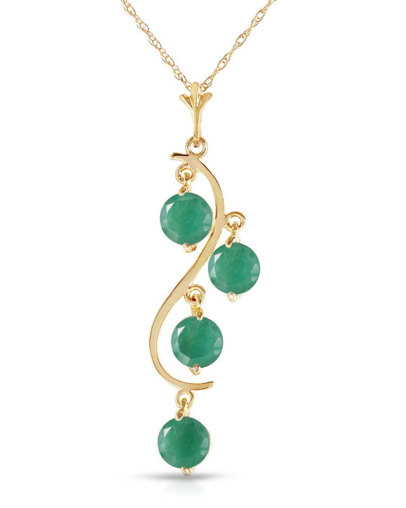 MAGNOLIA 2.00 CTW Round Green Emerald 14K Gold Ladies Necklace Length 18 in