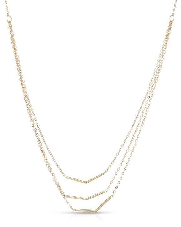 14K Gold Ladies Necklace Weight 2.0g. Length 17 in