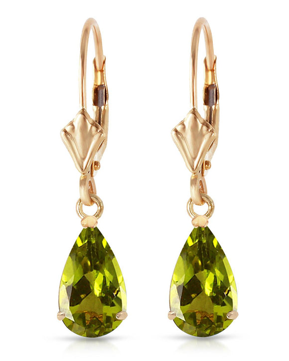 MAGNOLIA 3.00 CTW Pear Golden Green Peridot 14K Gold Drop Ladies Earrings