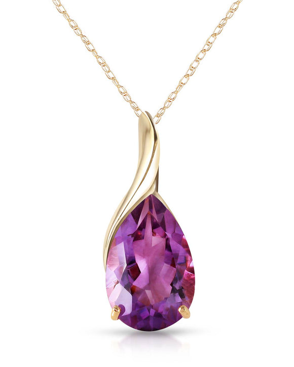 MAGNOLIA 5.00 CTW Pear Purple Amethyst 14K Gold Ladies Necklace Length 18 in