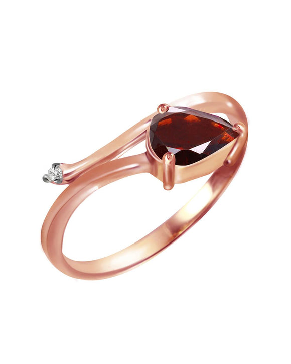MAGNOLIA 0.84 CTW Accent Pear Reddish Brown Garnet 14K Gold Ladies Ring Size 8