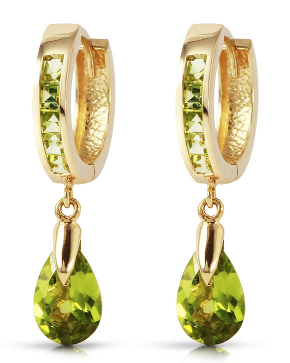 MAGNOLIA 3.90 CTW Golden Green Peridot 14K Gold Drop Ladies Earrings