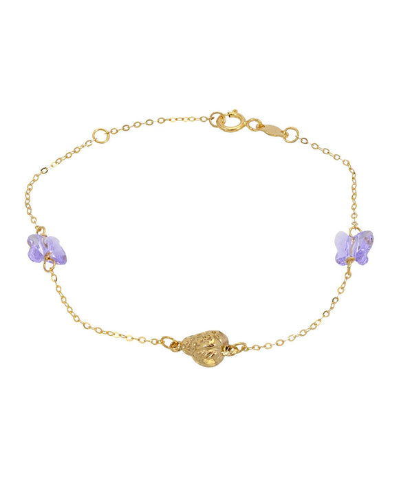 GOLDEN ARC JEWELRY Made In Italy Fancy Lavender Crystal 14K Gold Ladies Bracelet