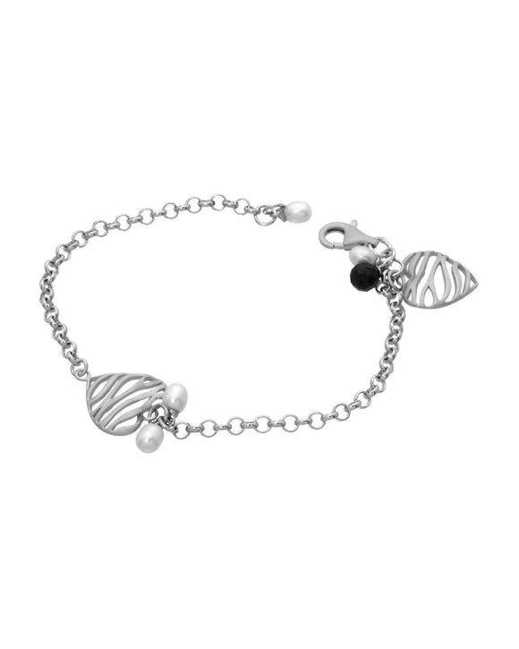 Made In Italy Drop White Freshwater Pearl Sterling Silver Heart Ladies Bracelet
