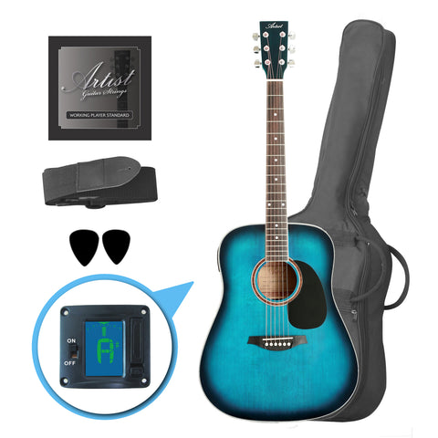 Artist LSPTBB Beginner Acoustic Guitar Pack - Blue