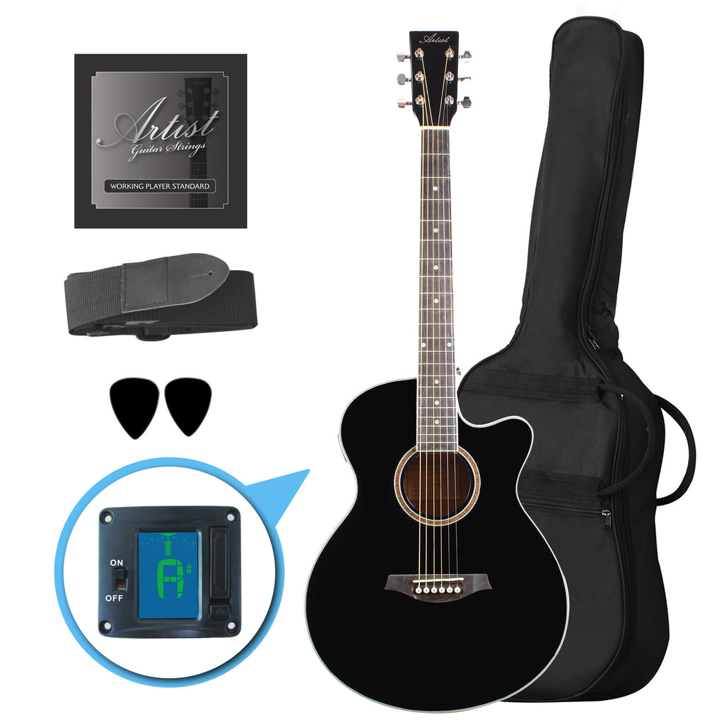 Artist LSPSBK Small Body Beginner Acoustic Guitar Pack Black