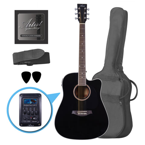 Artist LSPCEQBK Beginner Acoustic Electric Guitar Pack - Black