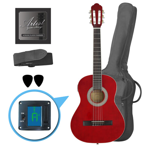 Artist CL34TRD 3/4 Size Classical Guitar Pack, Nylon String - Red