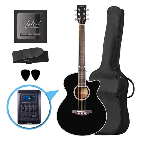 Artist LSPSCEQ Black Small Body Beginner Acoustic Electric Guitar