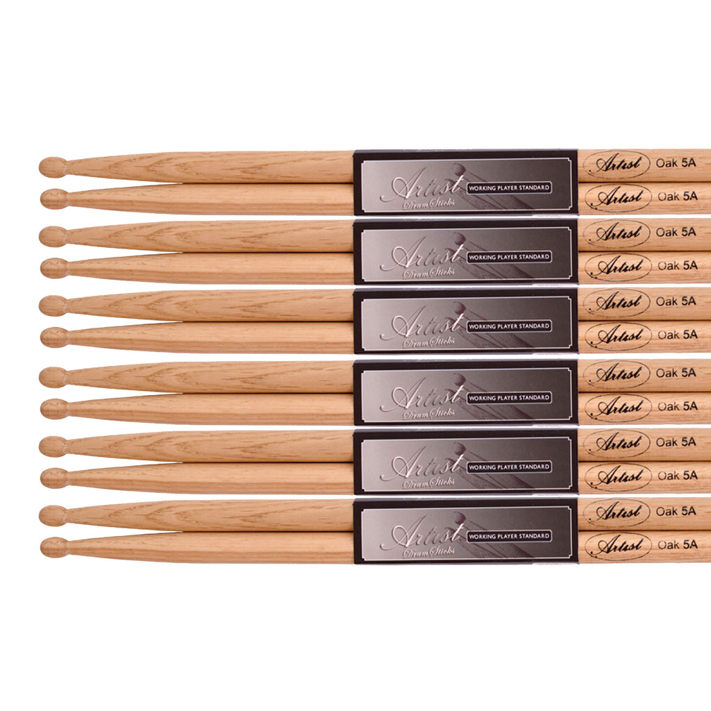 Artist DSO5A 6  Pairs of 5A Oak Drum sticks with Wooden Tips