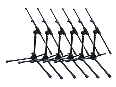 Artist MS010 Small Black Mic Stand with Telescopic Boom - 6 Pack