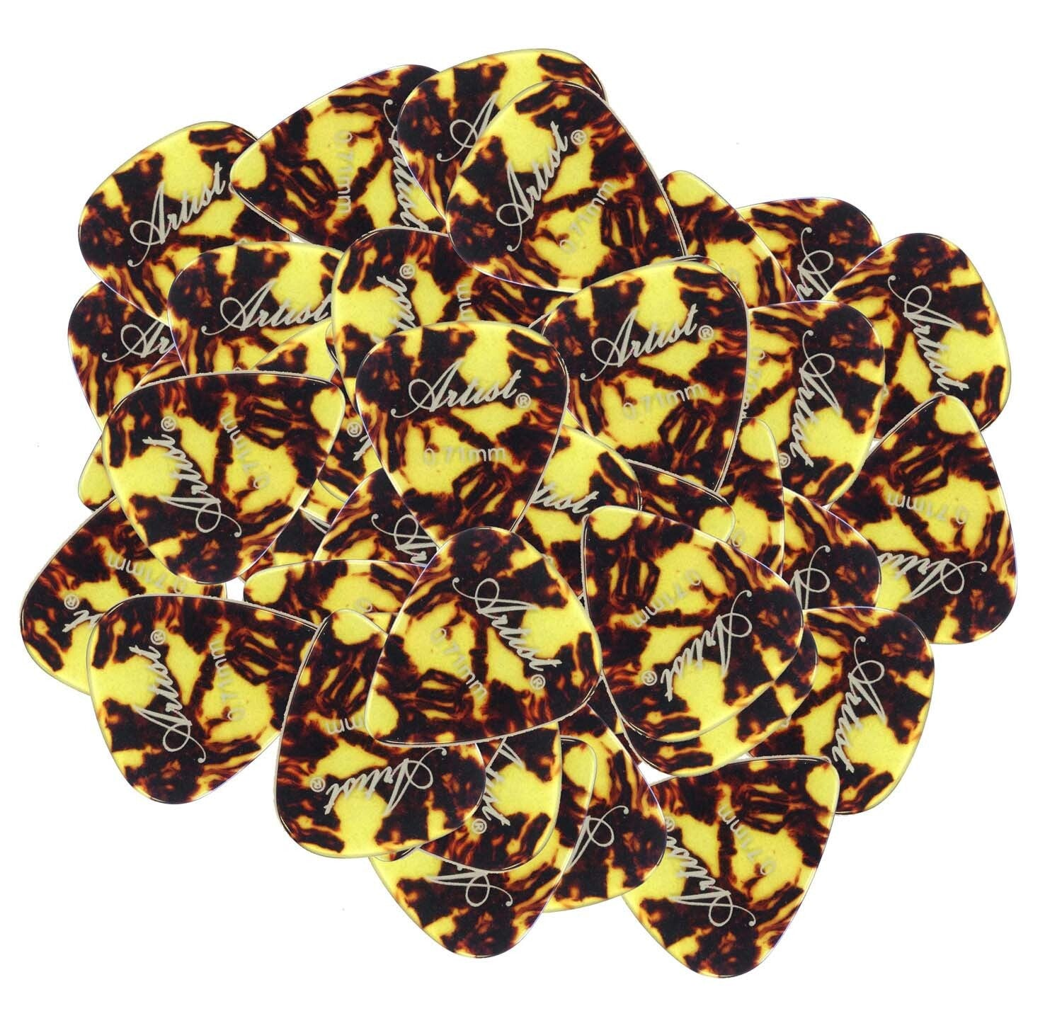 Artist AP12A0.71 Brown/Yellow Celluloid Guitar Picks -0.71mm 72 Pack
