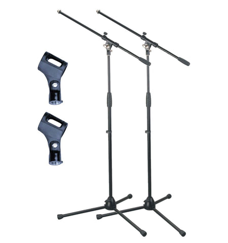 Artist MS012 2 Pack Deluxe Black Boom Mic Stand with Rubber Mic Clip
