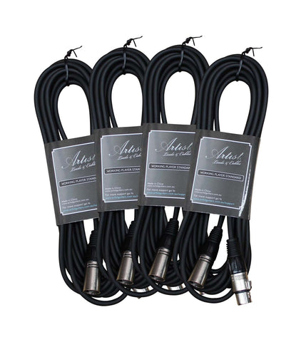 Artist MC10XX 10ft (3m) Mic Cable/Lead XLR-XLR - 4 Pack