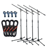 Artist MS012 4 Pack Deluxe Black Boom Mic Stand + Clip and 20ft Cable