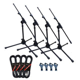 Artist MS010 4 Pack Deluxe Black Boom Mic Stand with Clip