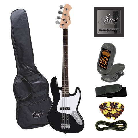 Artist JB2 Black Electric Bass Guitar Plus Accessories