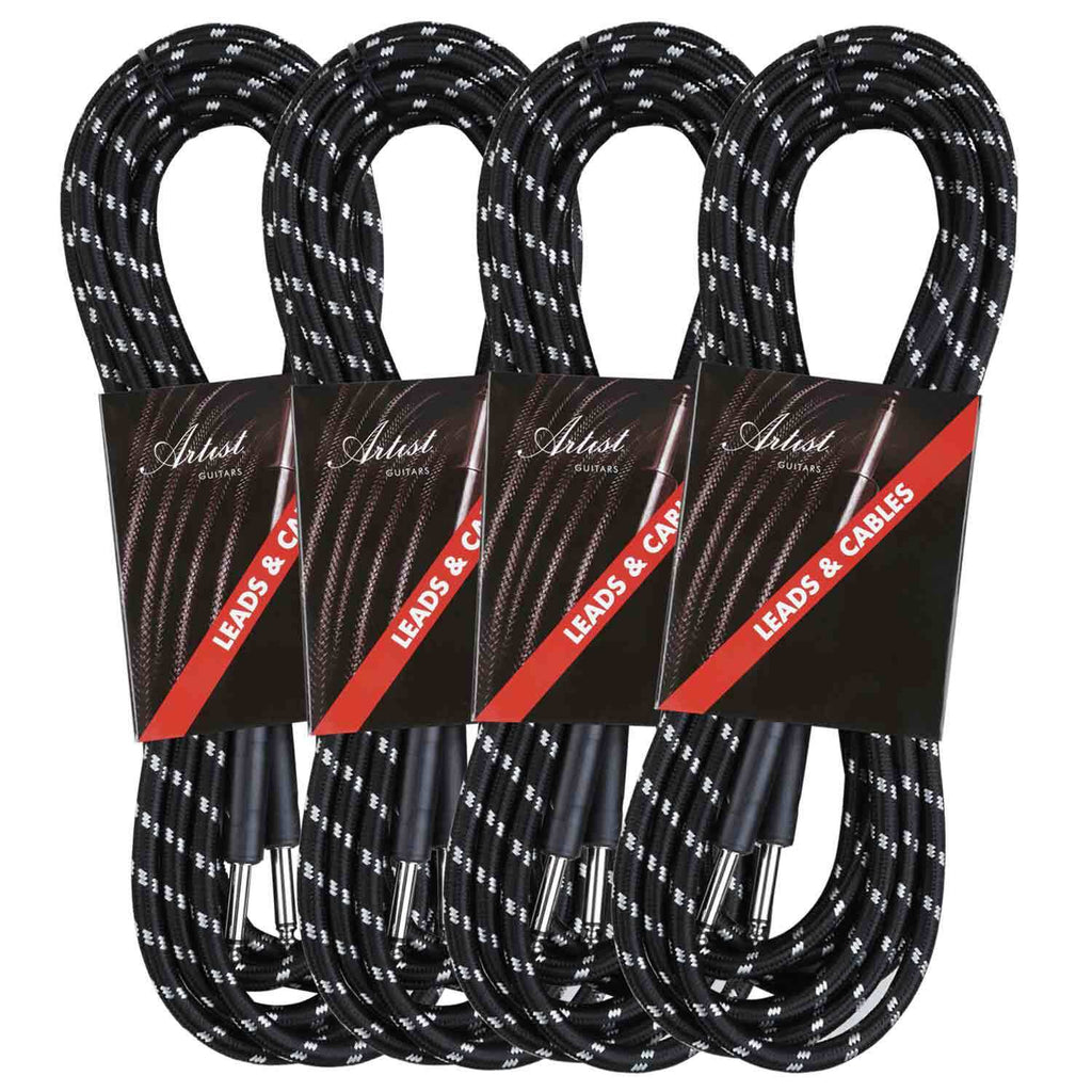 Artist FB20 20ft (6m) Fat Boy Braided Guitar Cable/Lead - 4 Pack