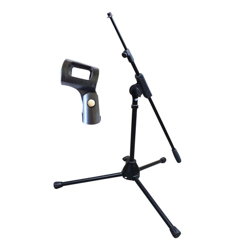 Artist MS010 Small Black Mic Stand with Short Telescopic Boom + Clip