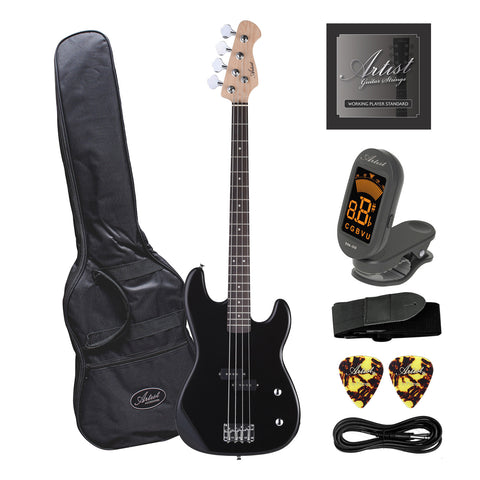 Artist PB34 Black 3/4 Size Electric Bass Guitar with Accessories